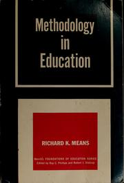 Cover of: Methodology in education