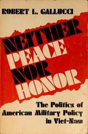 Cover of: Neither peace nor honor