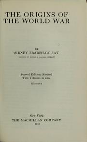 Cover of: The origins of the world war
