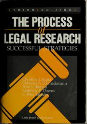 Cover of: Process of Legal Research Successful Strategies (Process of Legal Research)