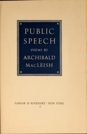 Cover of: Public speech