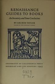 Cover of: Renaissance guides to books | Taylor, Archer