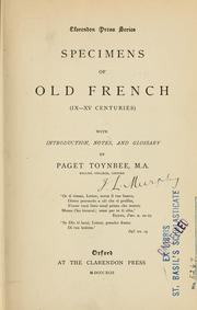 Cover of: Specimens of Old French, IX-XV centuries