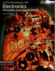 Cover of: Activities manual for Electronics, principles and applications