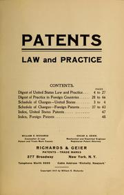 Cover of: Patents law and practice ...