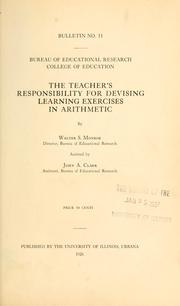 Cover of: The teachers' responsibility for devising learning excercises in arithmetic