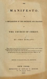 Cover of: The manifesto, or, A declaration of the doctrines and practice of the church of Christ