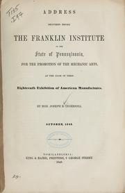 Cover of: Address delivered before the Franklin institute of the state of Pennsylvania