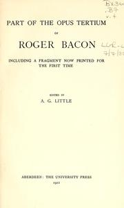 Cover of: Part of the Opus tertium of Roger Bacon: including a fragment now printed for the first time