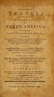 Cover of: Three years travels through the interior parts of North America