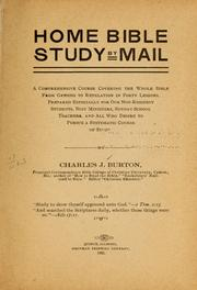 Cover of: Home Bible study by mail | Charles J. Burton