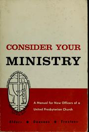Cover of: Consider your ministry | United Presbyterian Church in the U.S.A. Board of Christian Education