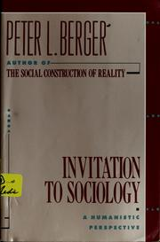 Cover of: Invitation to sociology