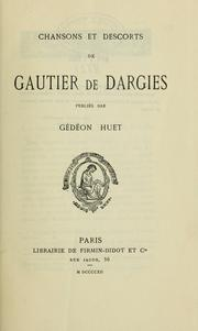 Cover of: Chansons et descorts de Gautier de Dargies