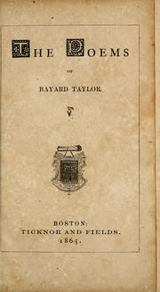 Cover of: The  poems of Bayard Taylor