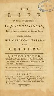 Cover of: The life of John Tillotson, Lord Archbishop of Canterbury