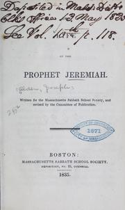 Cover of: The life of the prophet Jeremiah | Joseph Alden