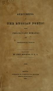 Cover of: Specimens of the Russian poets | Bowring, John Sir