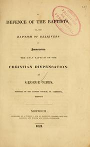 Cover of: A defence of the Baptists