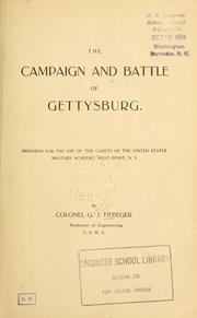 Cover of: The campaign and battle of Gettysburg | G. J. Fiebeger