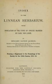 Cover of: Index to the Linnean Herbarium
