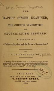 Cover of: The Baptist system examined