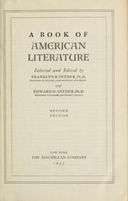 Cover of: A book of American literature