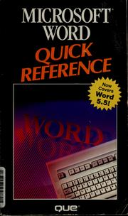 Cover of: Microsoft Word Quick Reference