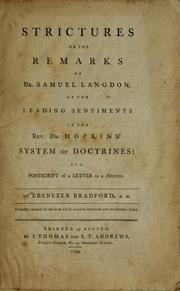 Cover of: Strictures on the Remarks of Dr. Samuel Langdon, on the leading sentiments in the Rev. Dr. Hopkins' System of doctrines