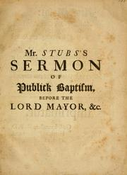 Cover of: Of public baptism | Philip Stubs