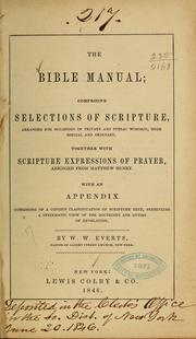 Cover of: The Bible manual | William W. Everts