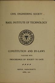 Cover of: Constitution and by-laws | Massachusetts institute of technology. Civil engineering society