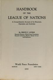 Cover of: Handbook of the League of Nations | Denys P. Myers
