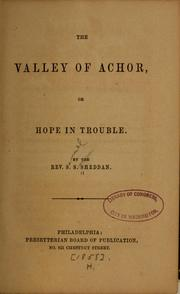 Cover of: The valley of Achor | Samuel S. Sheddan
