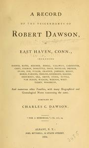 Cover of: A record of the descendants of Robert Dawson