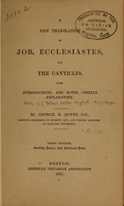 Cover of: A new translation of Job, Ecclesiastes, and the Canticles