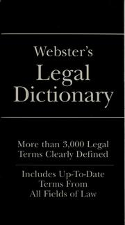 Cover of: Webster's legal dictionary