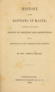 Cover of: A history of the Baptists in Maine