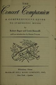 The concert companion by Robert C. Bagar