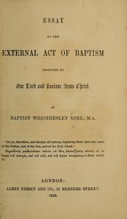 Cover of: Essays on the external act of baptism