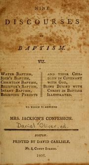 Nine discourses on baptism by Daniel Oliver
