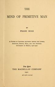 Cover of: The mind of primitive man