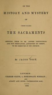 Cover of: On the history and mystery of (those called) the sacraments | Jacob Post