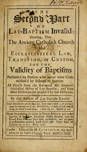 The second part of Lay-baptism invalid by Laurence, R.