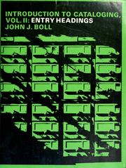 Cover of: Introduction to cataloging | John J. Boll