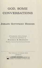 Cover of: God, some conversations | Johann Gottfried Herder