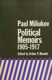 Cover of: Political memoirs, 1905-1917