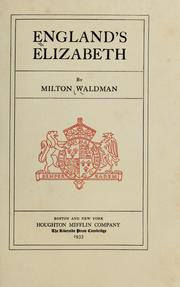 Cover of: England's Elizabeth