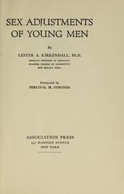 Cover of: Sex adjustments of young men