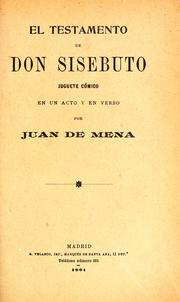 Cover of: El testamento de don Sisebuto